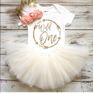 Other - Boho girls wild one birthday outfit and tutu